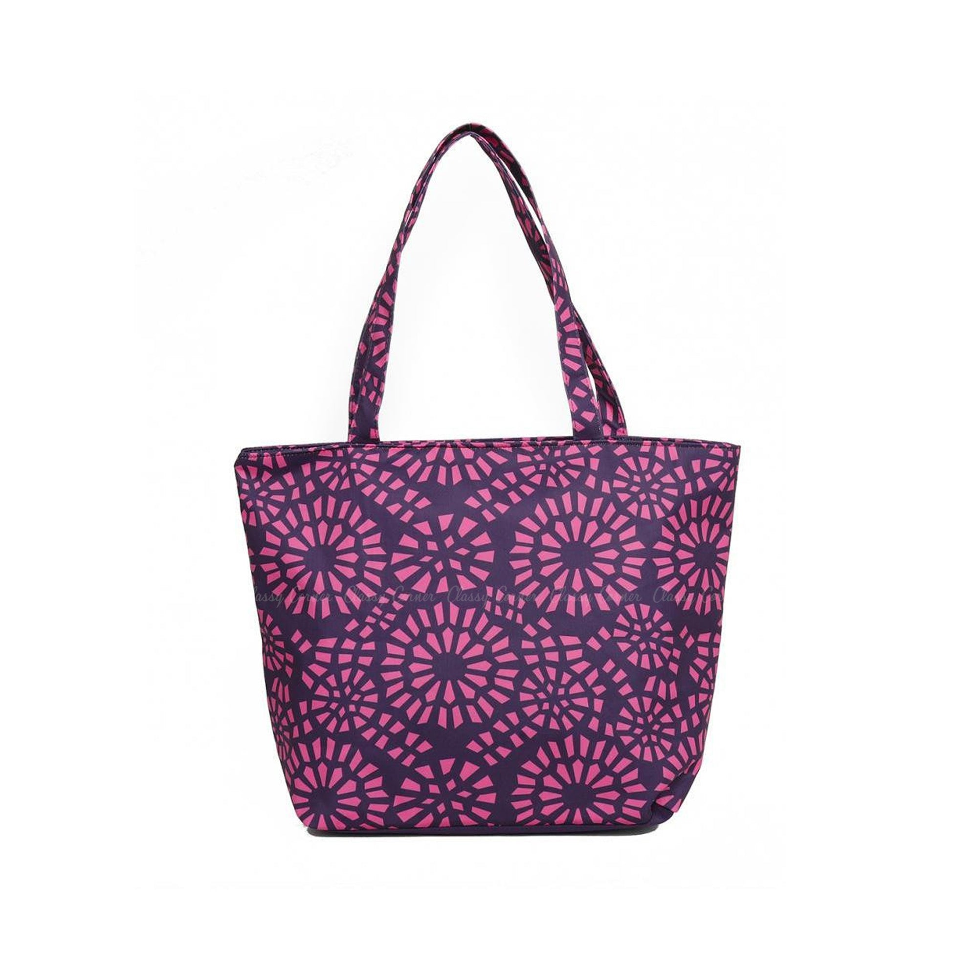 Simple Pink Abstract Full Print Purple Zipper Beach Bag