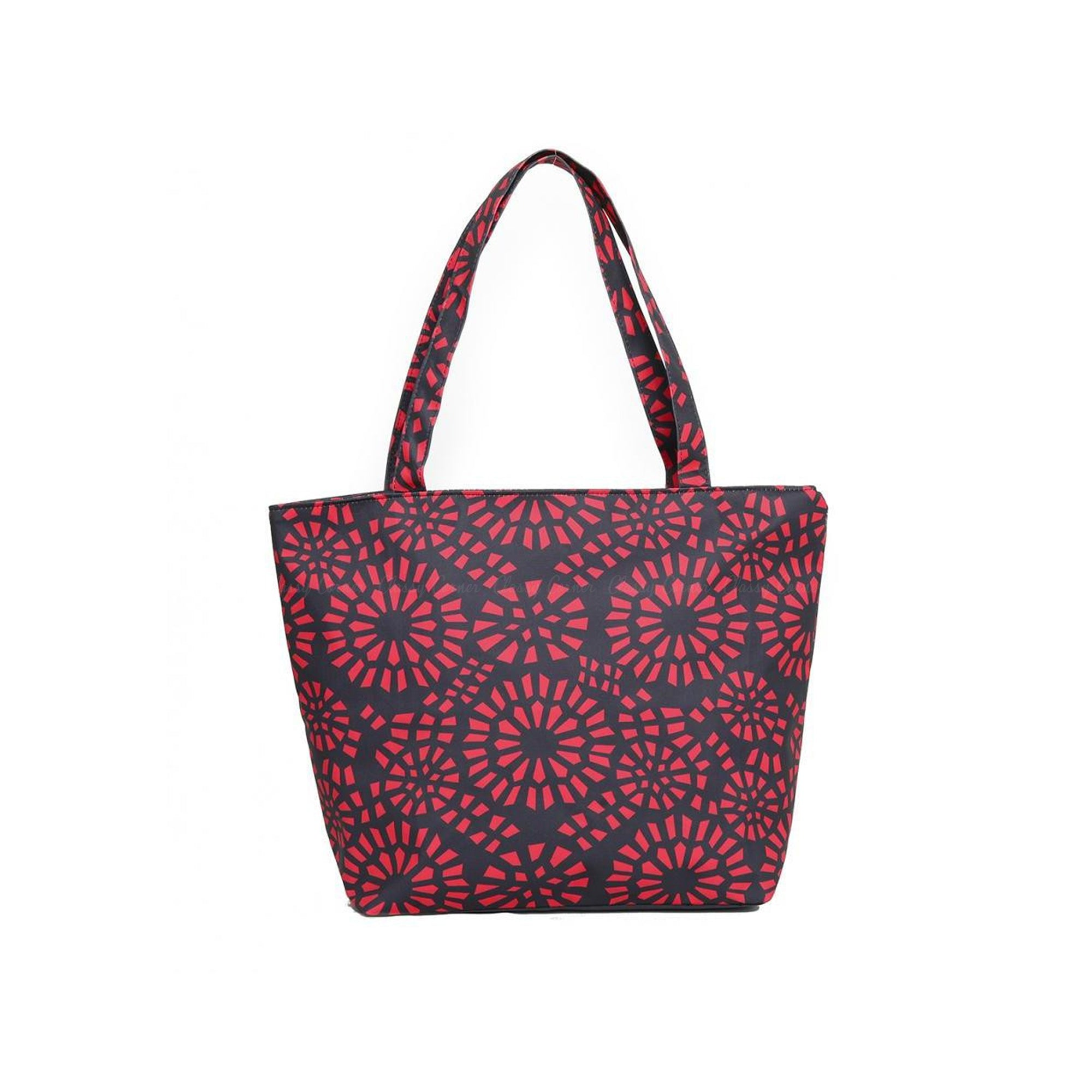 Simple Red Abstract Full Print with Zipper Black Beach Tote Bag