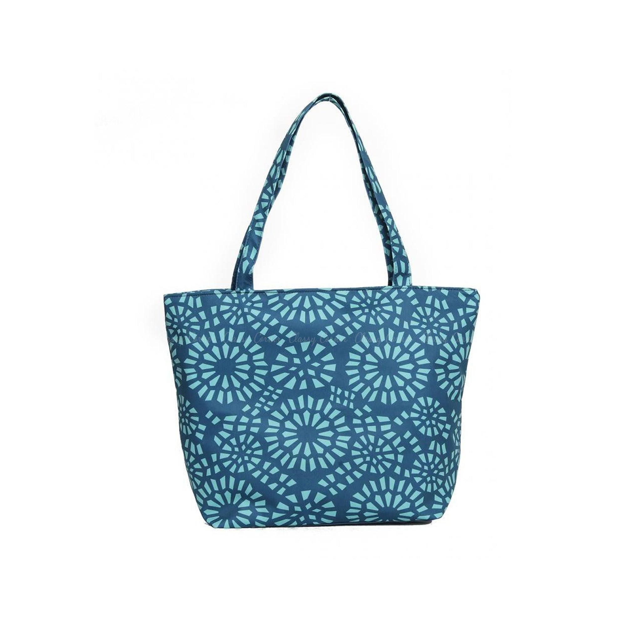 Simple Turquoise Abstract Full Print with Zipper Teal Beach Tote Bag