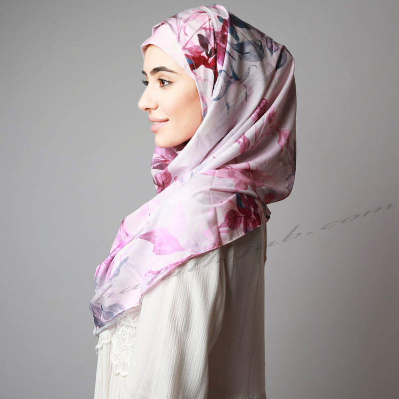 Sugar plum Pink Floral Print Two Piece Instant Hijab