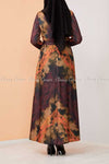 Tie-Dye Print Modest Long Dress - back view