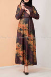 Tie-Dye Print Modest Long Dress - front view