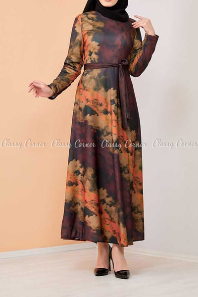Tie-Dye Print Modest Long Dress - full front view