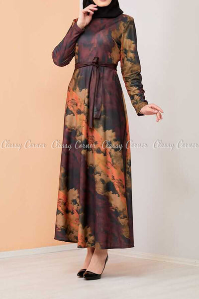 Tie-Dye Print Modest Long Dress - side view