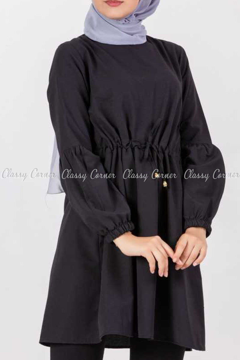 Tie Waist Black Modest Tunic Dress