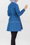 Tie Waist Blue Modest Tunic Dress - back view