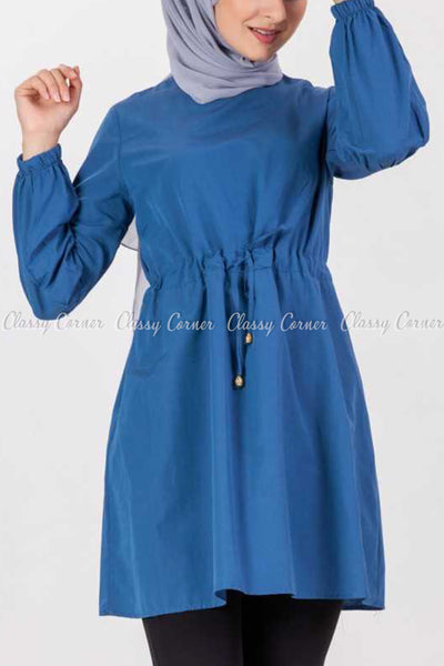 Tie Waist Blue Modest Tunic Dress - -front design