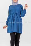 Tie Waist Blue Modest Tunic Dress - front details