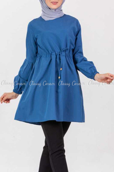 Tie Waist Blue Modest Tunic Dress - full front view