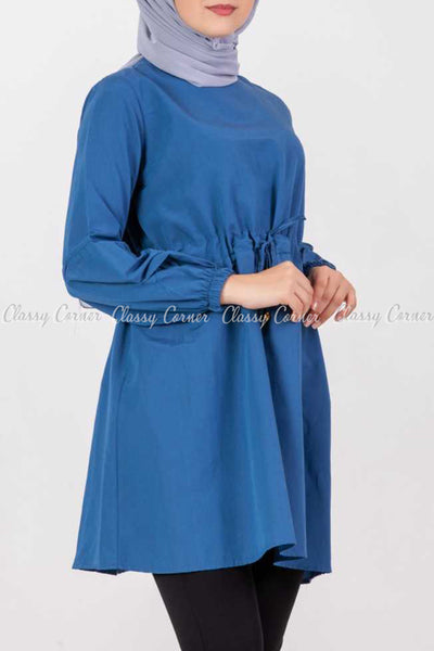 Tie Waist Blue Modest Tunic Dress - left side details