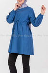 Tie Waist Blue Modest Tunic Dress - right side details
