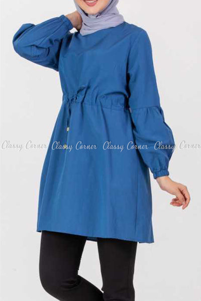 Tie Waist Blue Modest Tunic Dress - right side view