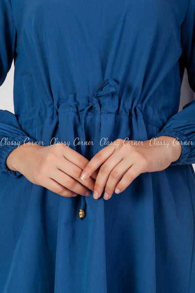 Tie Waist Blue Modest Tunic Dress - tie waist details