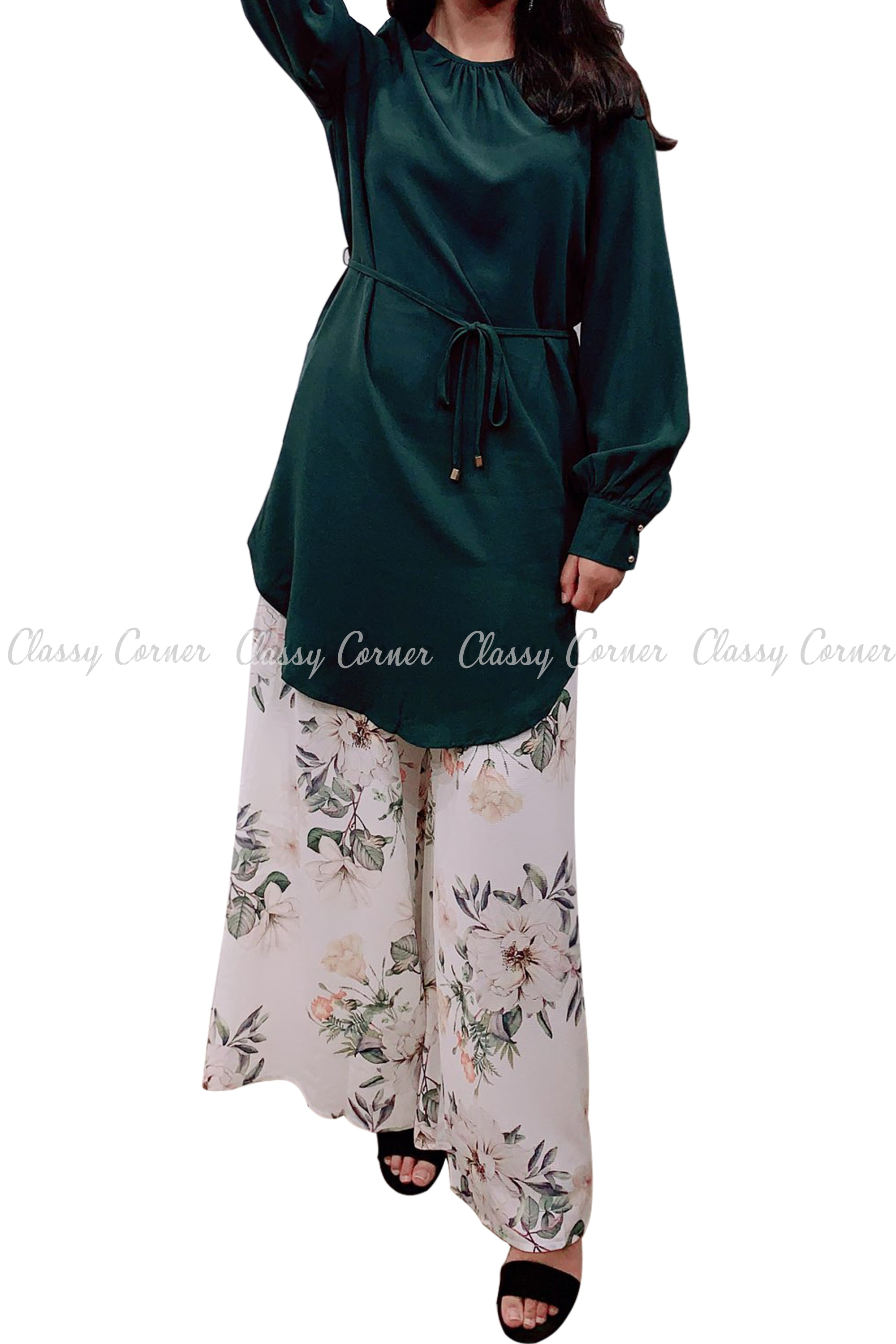 Tie Waist Green Modest Tunic Dress