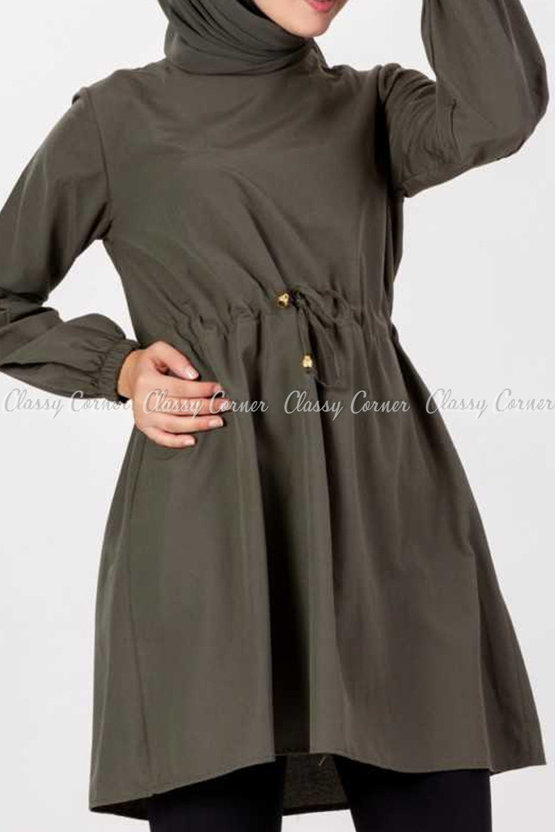 Tie Waist Khaki Brown Modest Tunic Dress