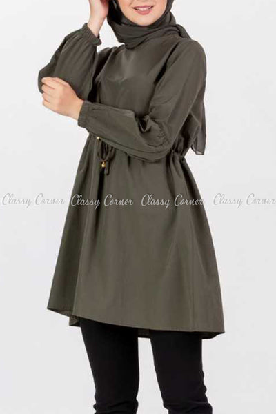 Tie Waist Khaki Brown Modest Tunic Dress - right side view
