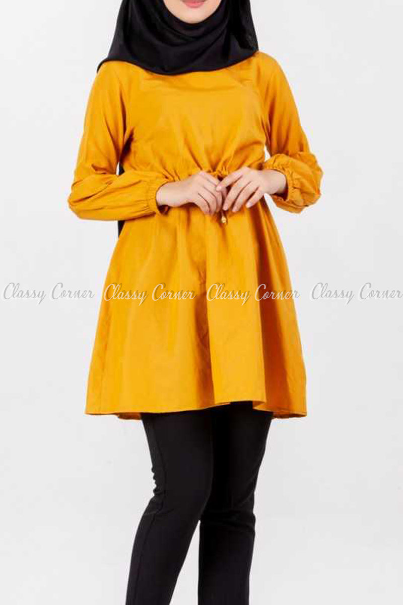Tie Waist Mustard Yellow Modest Tunic Dress
