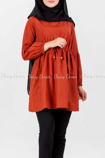 Tie Waist Orange Modest Tunic Dress - front details