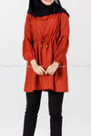Tie Waist Orange Modest Tunic Dress - front view