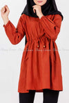 Tie Waist Orange Modest Tunic Dress - full front view