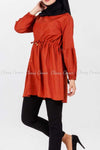 Tie Waist Orange Modest Tunic Dress - full side details