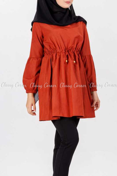 Tie Waist Orange Modest Tunic Dress - left side