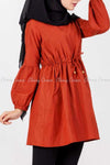 Tie Waist Orange Modest Tunic Dress - left side view
