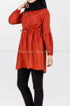 Tie Waist Orange Modest Tunic Dress - right side details