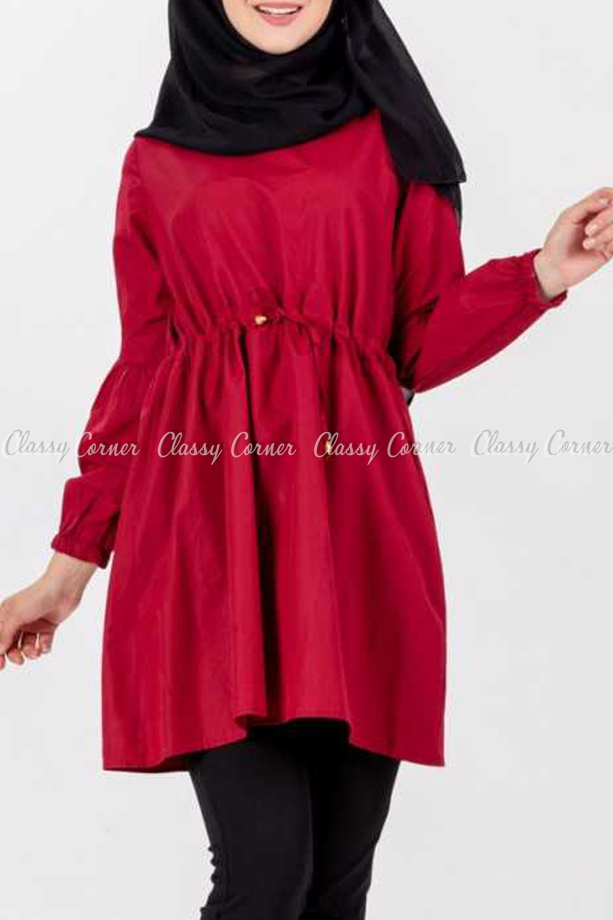 Tie Waist Red Modest Tunic Dress