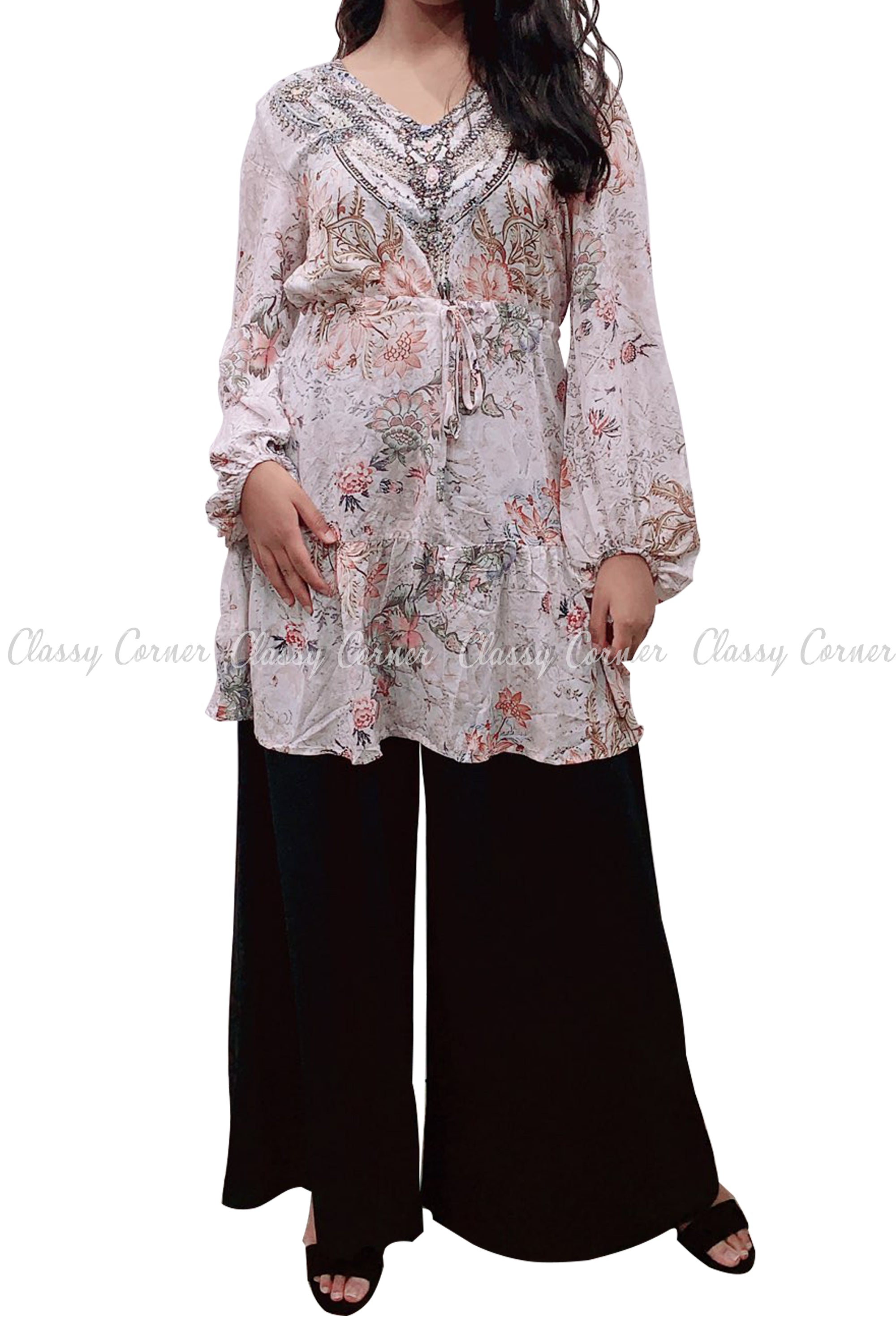 Tropical Floral Print White Modest Tunic Dress