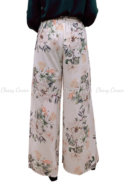 Tropical Leafy Floral Printed White Elegant Pants - back view