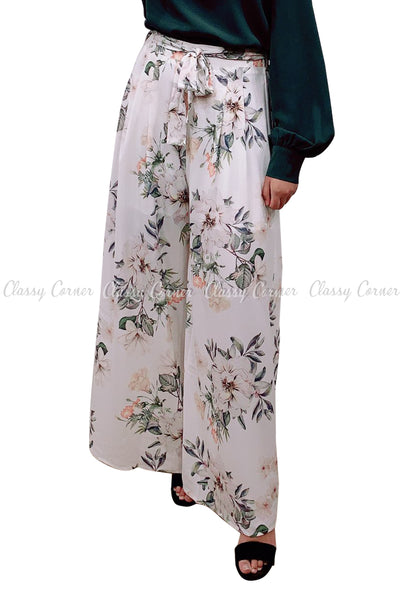Tropical Leafy Floral Printed White Elegant Pants - front view