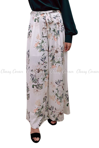 Tropical Leafy Floral Printed White Elegant Pants - full front view