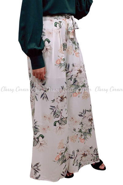 Tropical Leafy Floral Printed White Elegant Pants - side view