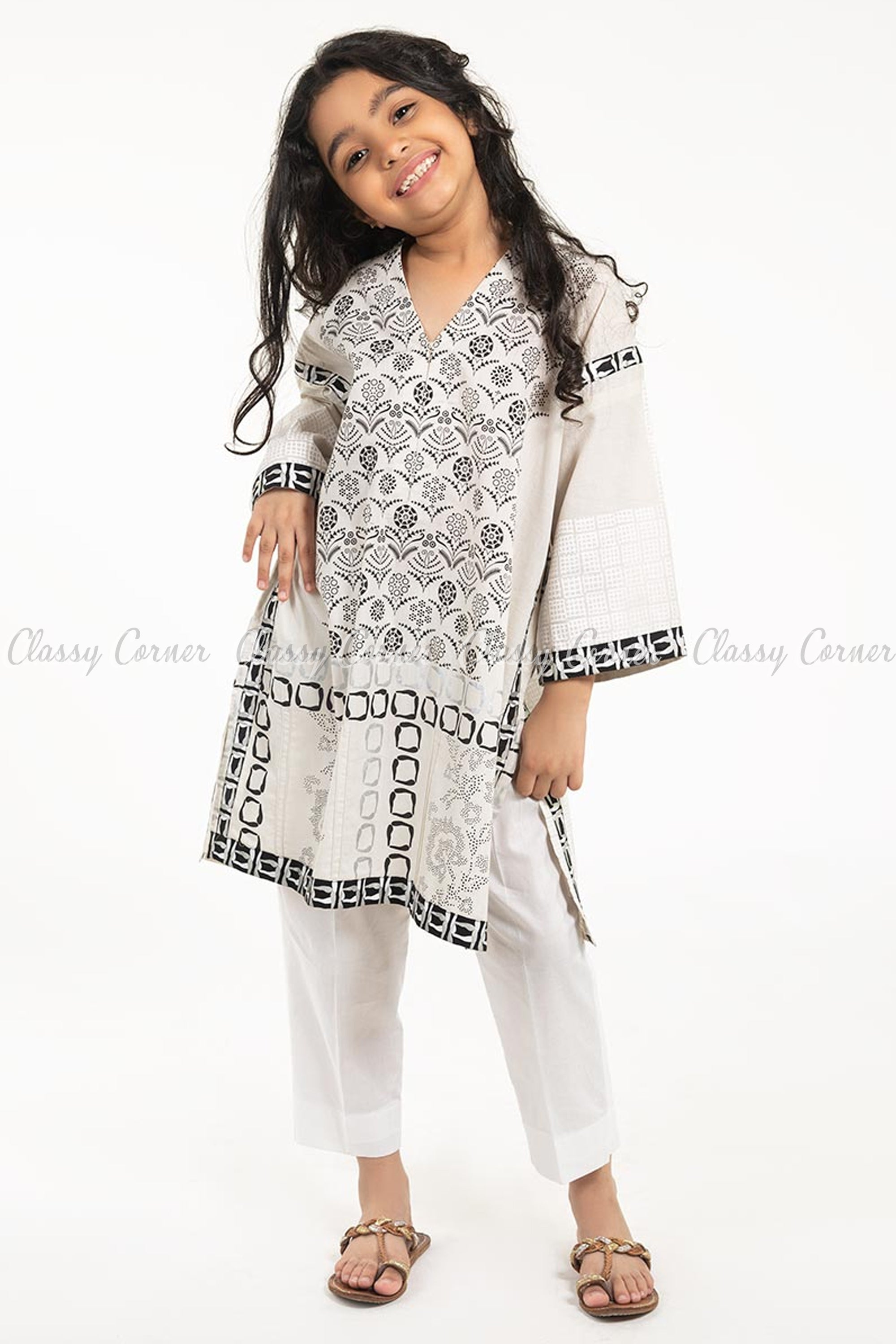Unique Floral Print White Kids Salwar Kameez