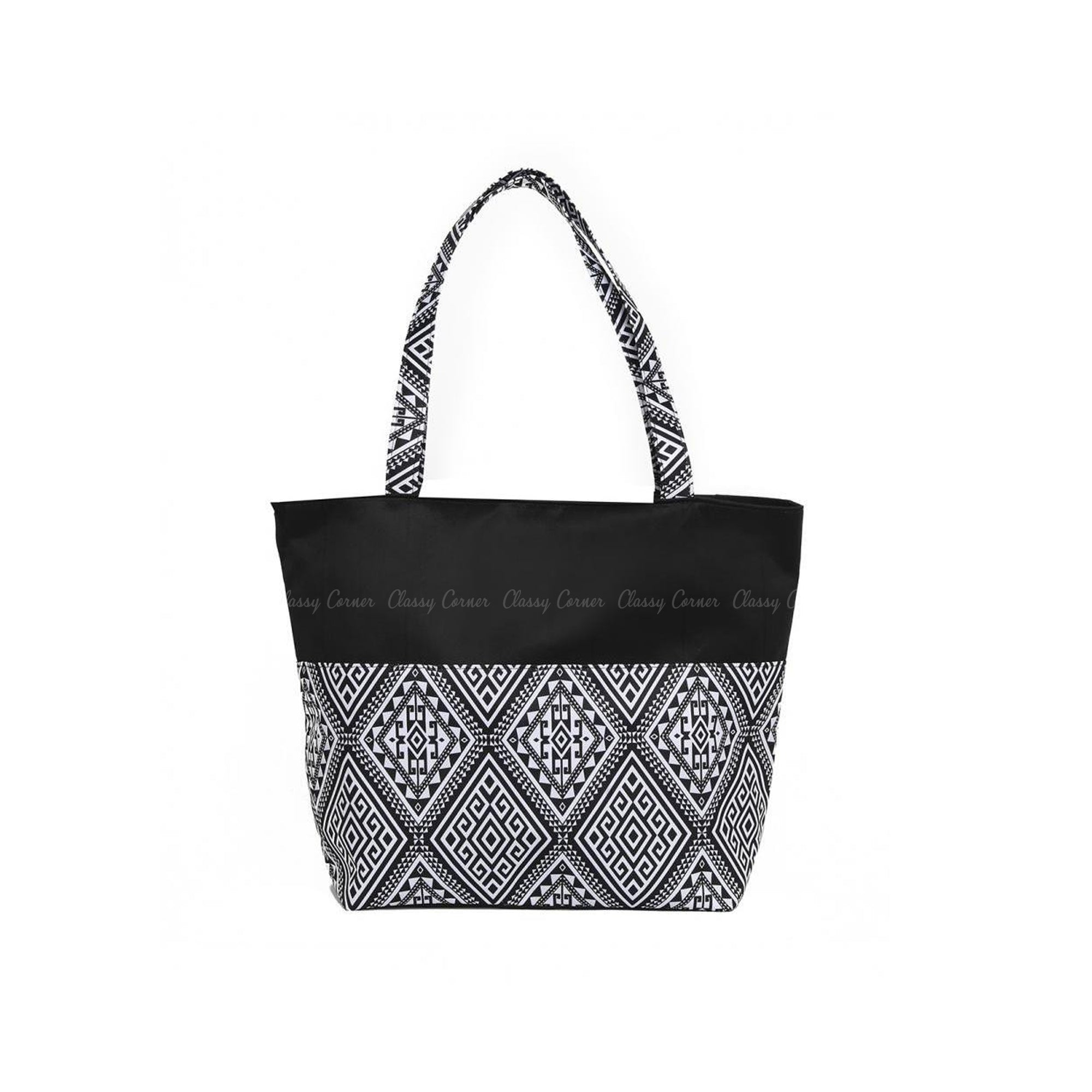 White Aztec Print Design Black Zpper Beach Bag