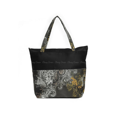 White Gold Mandala Print with Zipper Black Beach Tote Bag