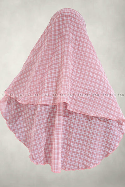 White Plaid Pink Instant Hijab - back view