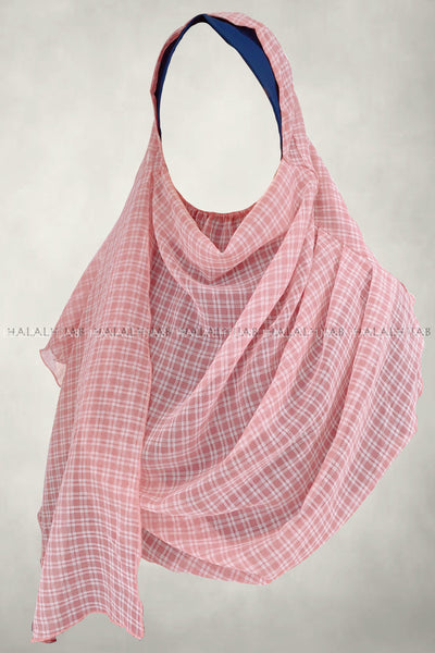 White Plaid Pink Instant Hijab - front view