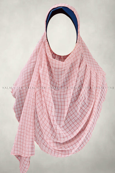 White Plaid Pink Instant Hijab - full front view