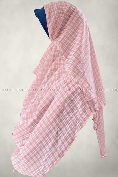 White Plaid Pink Instant Hijab - left side view
