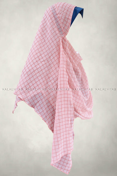 White Plaid Pink Instant Hijab - side view
