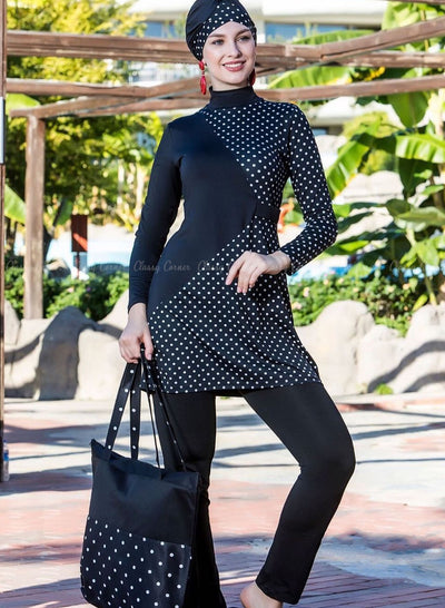 White Polka Dots Elegant Style Black Full Bodysuit Swimsuit