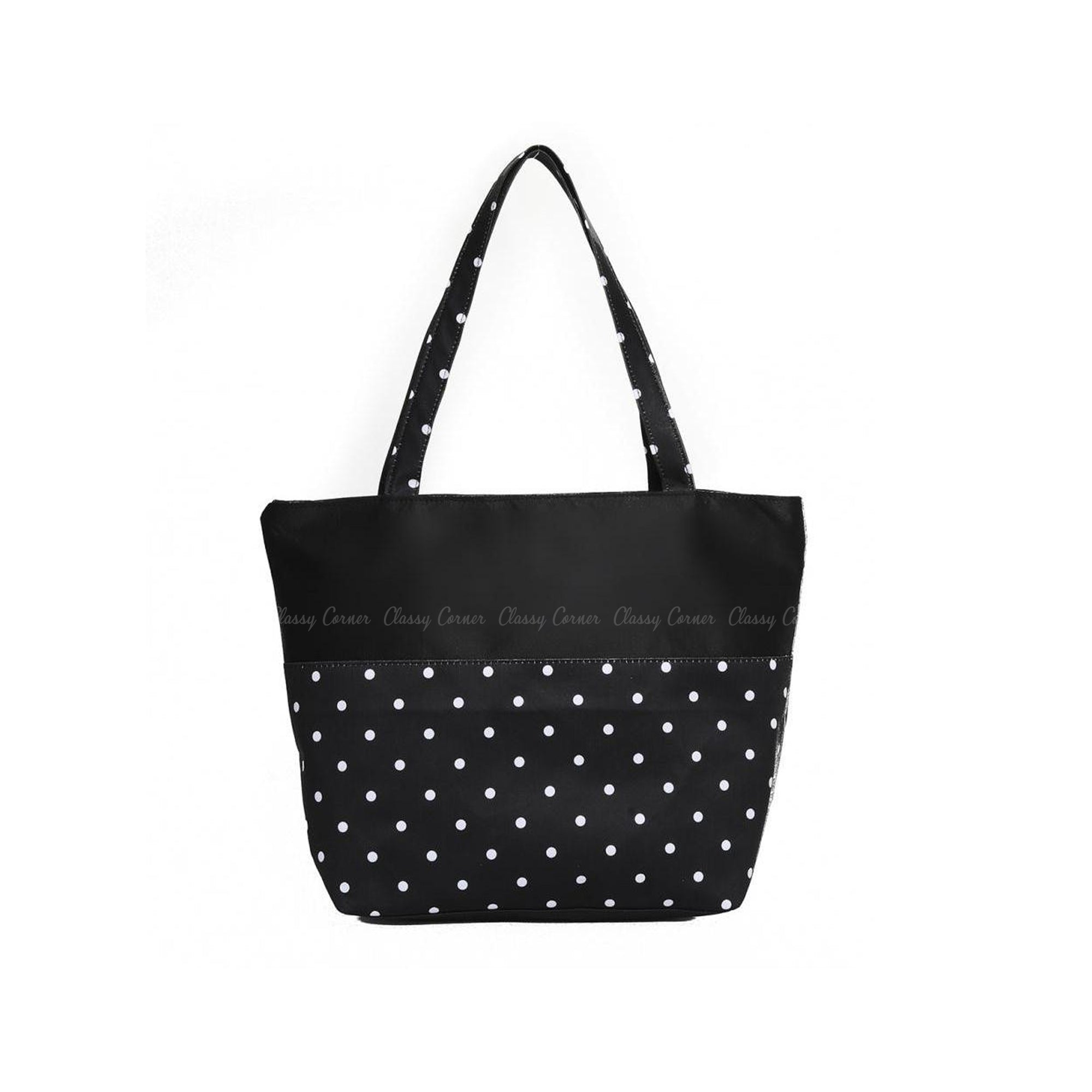 White Polka Dots Print with Zipper Black Beach Tote Bag
