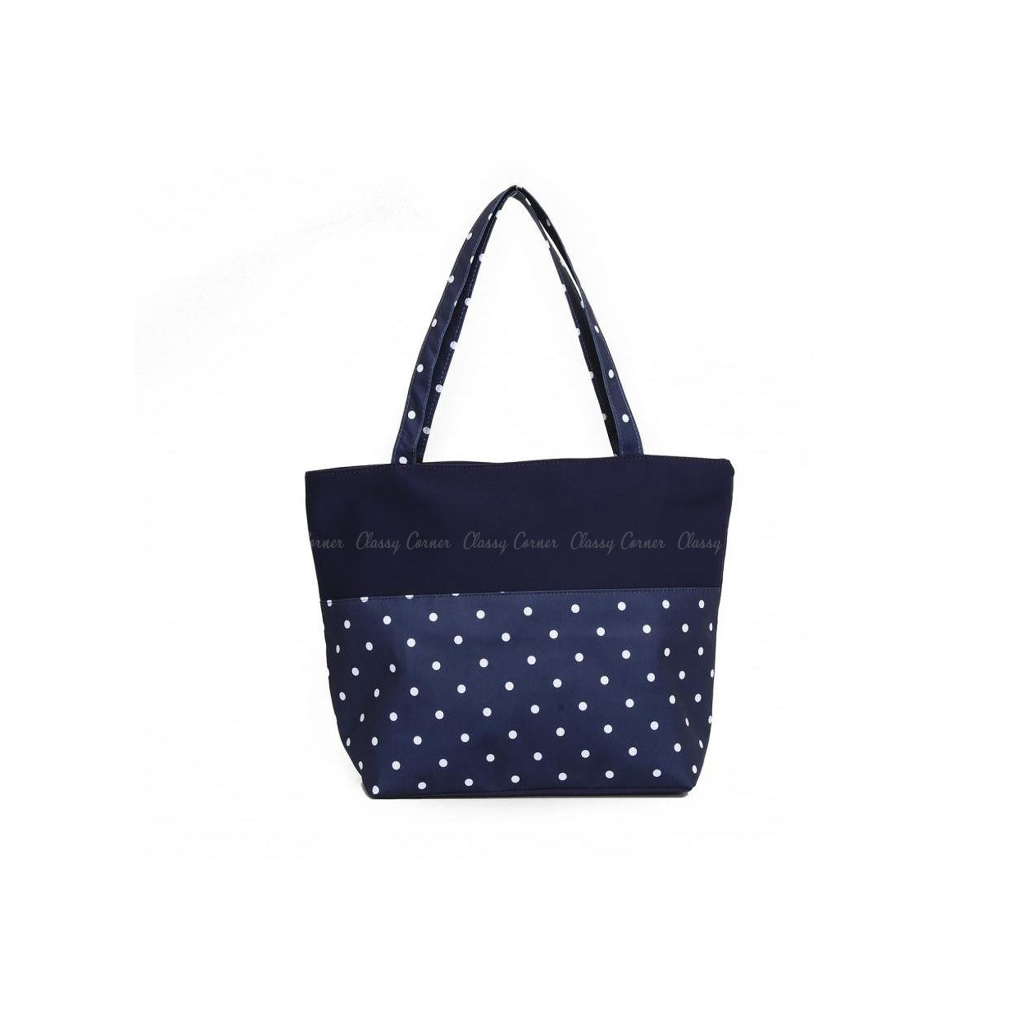 White Polka Dots Print with Zipper Navy Blue Beach Tote Bag