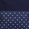 White Polka Dots Print with Zipper Navy Blue Beach Tote Bag Closed Up