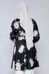 White Rose Print Black Modest Tunic Dress - back view