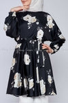 White Rose Print Black Modest Tunic Dress - side view