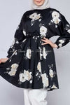 White Rose Print Black Modest Tunic Dress - front view