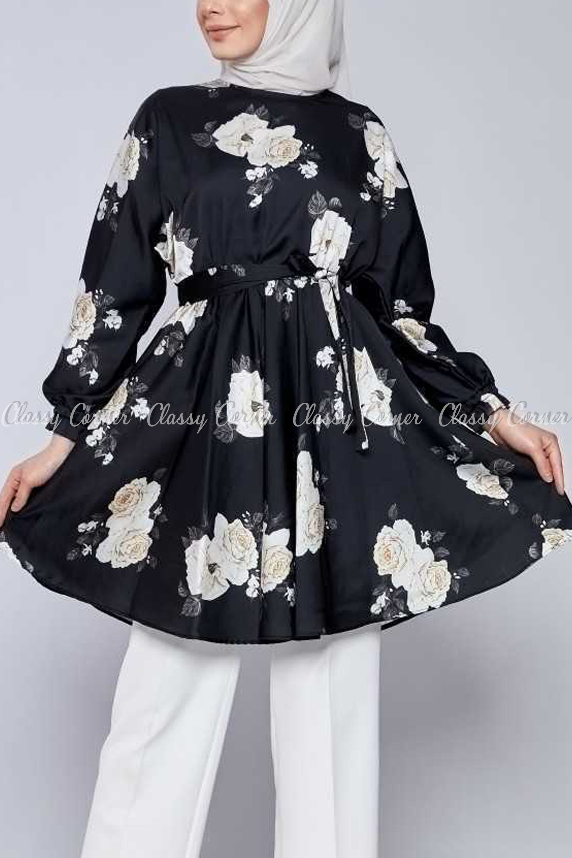 White Rose Print Black Modest Tunic Dress